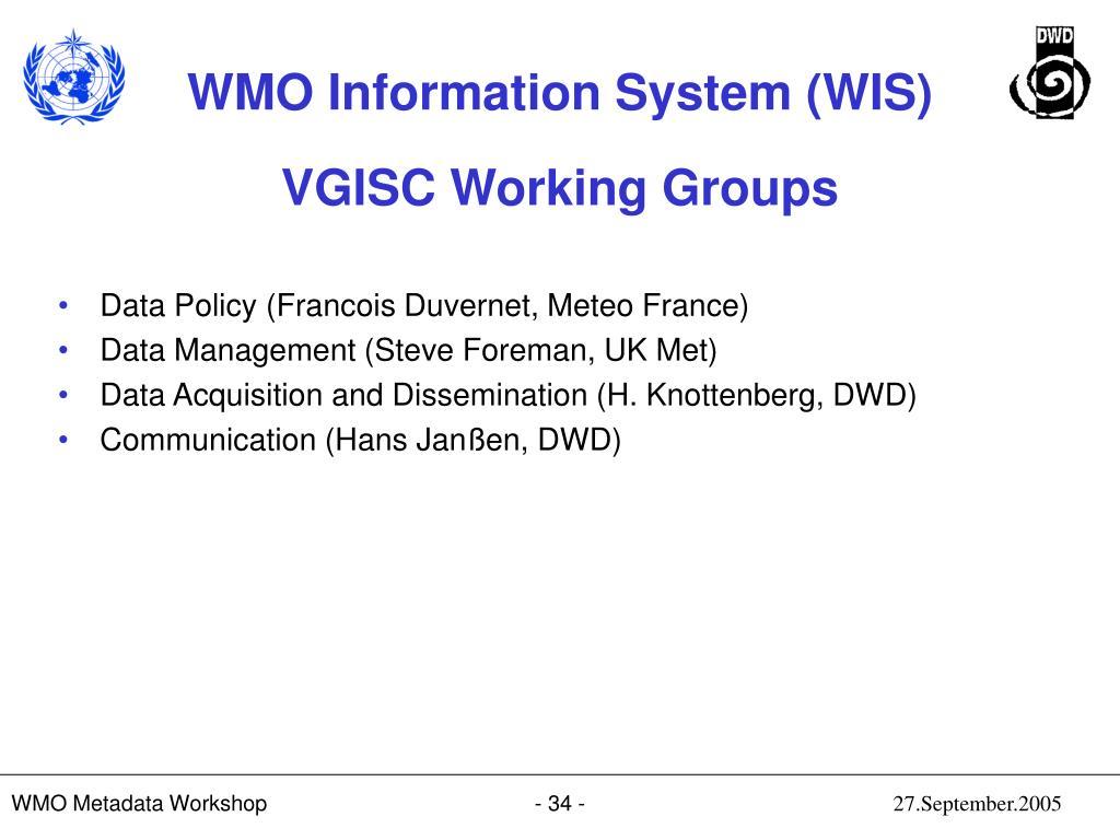 VGISC Working Groups