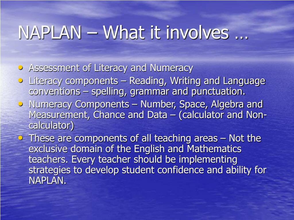 NAPLAN – What it involves …