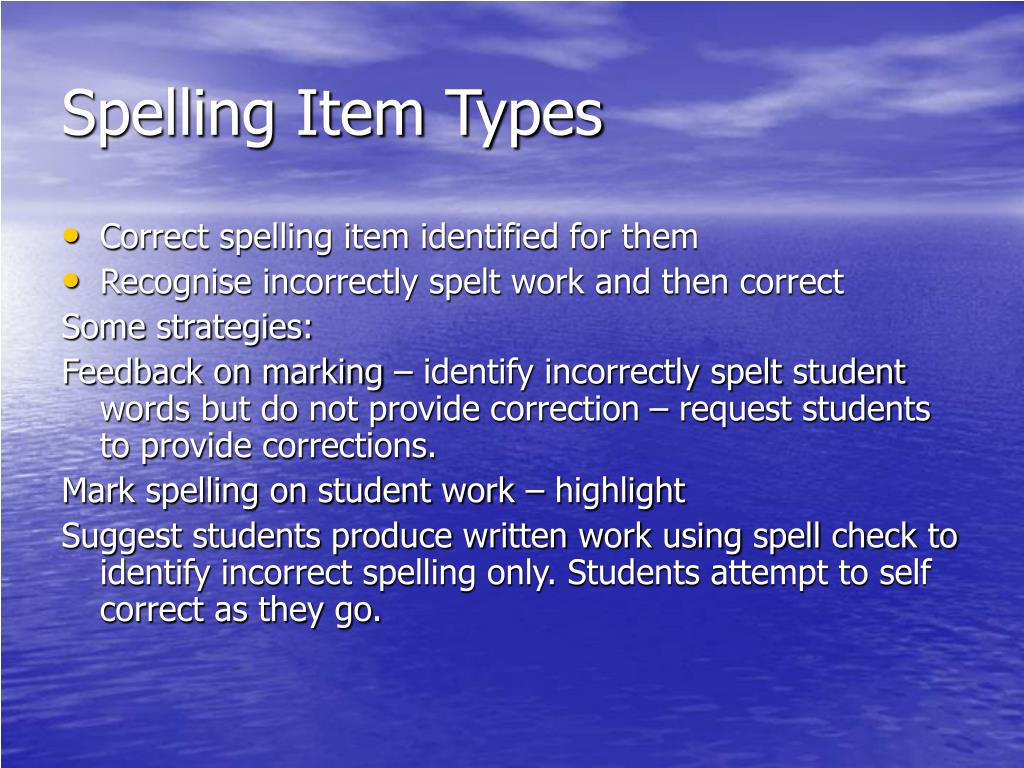 Spelling Item Types