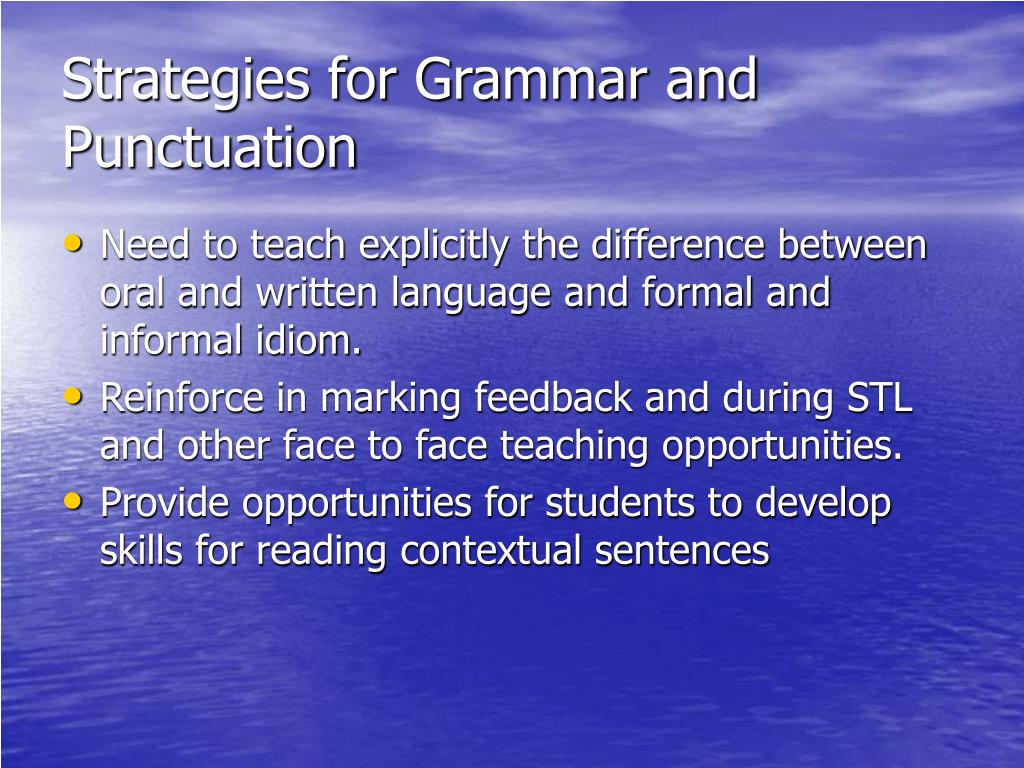 Strategies for Grammar and Punctuation