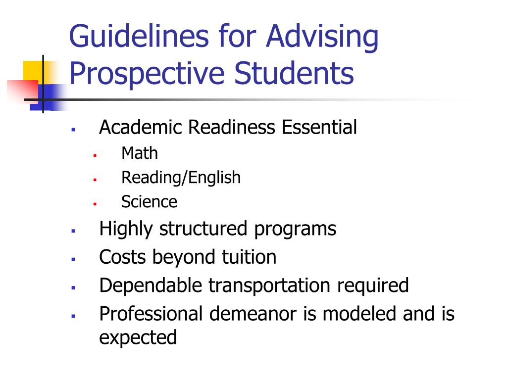Guidelines for Advising Prospective Students