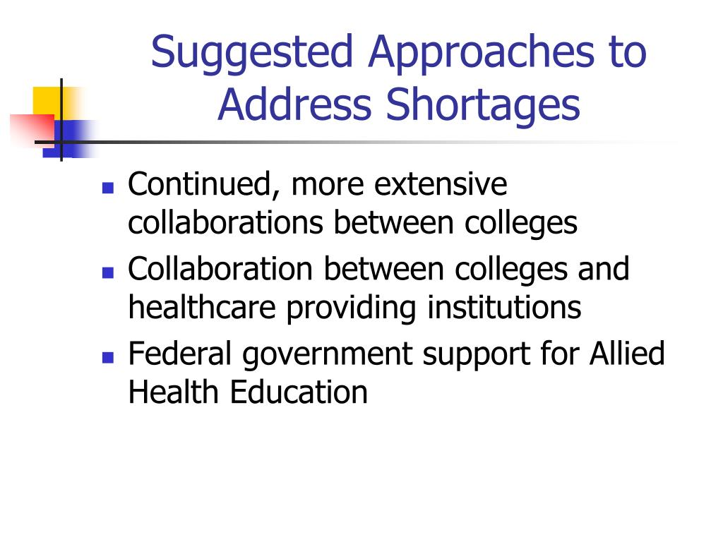 Suggested Approaches to Address Shortages
