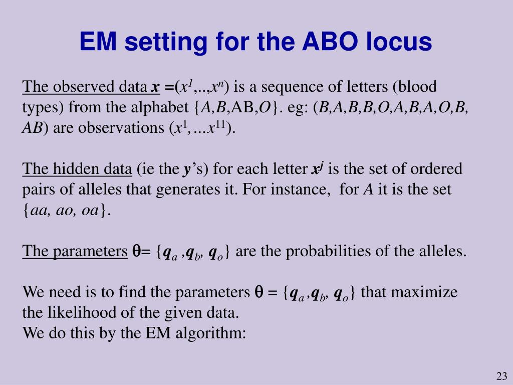 EM setting for the ABO locus