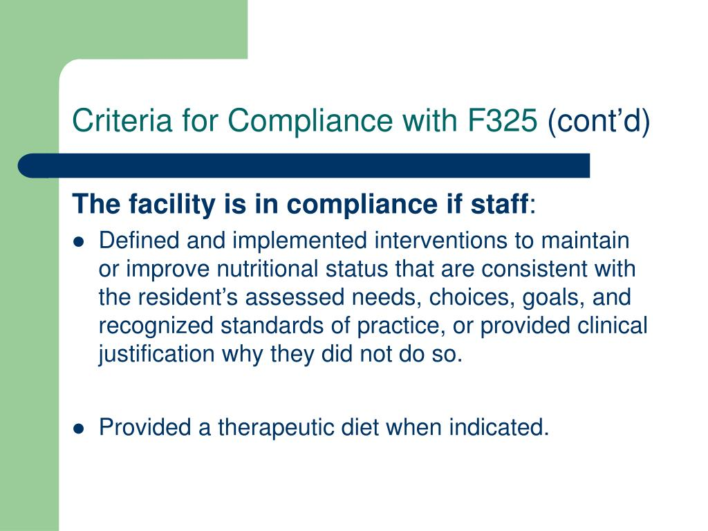 Criteria for Compliance with F325