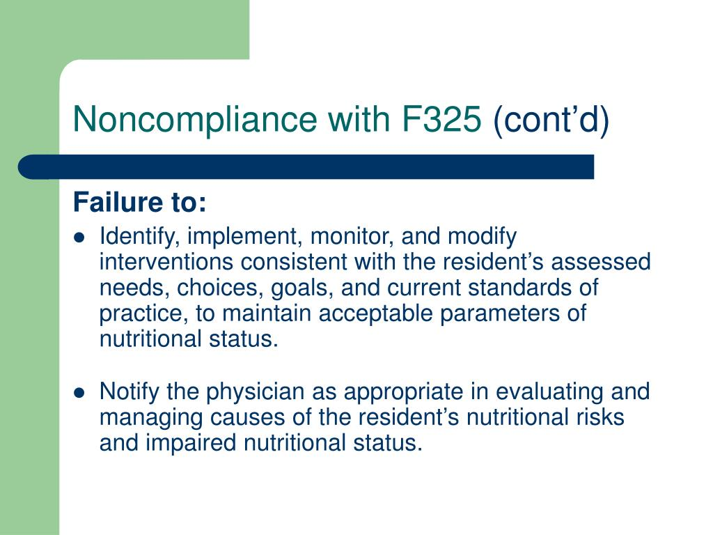 Noncompliance with F325