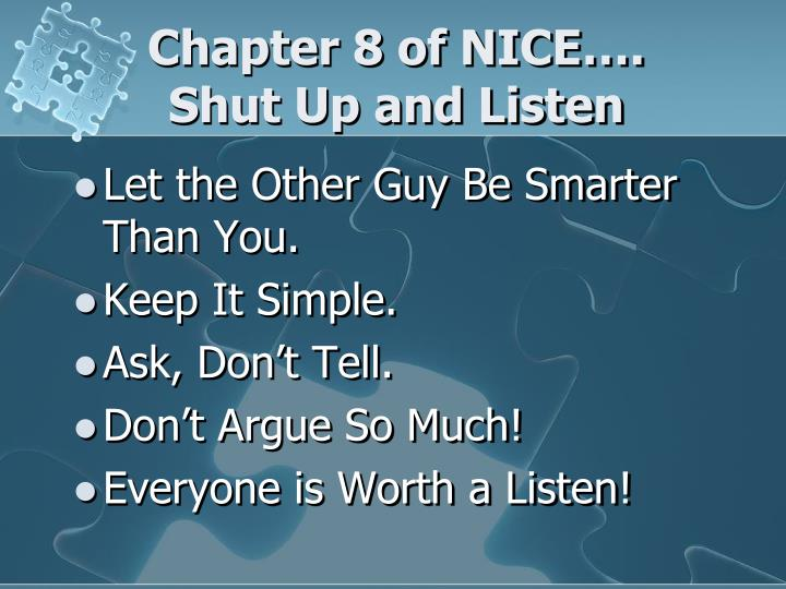 Chapter 8 of NICE….