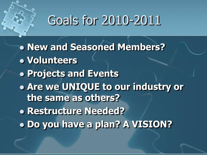 Goals for 2010-2011