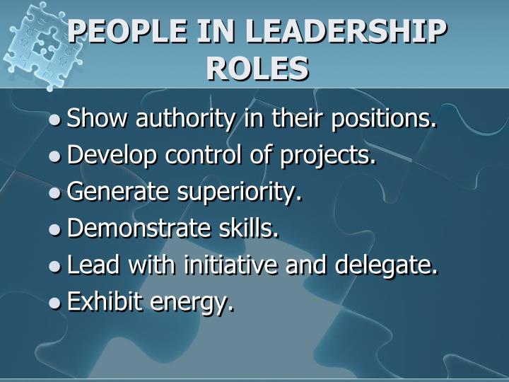 PEOPLE IN LEADERSHIP ROLES