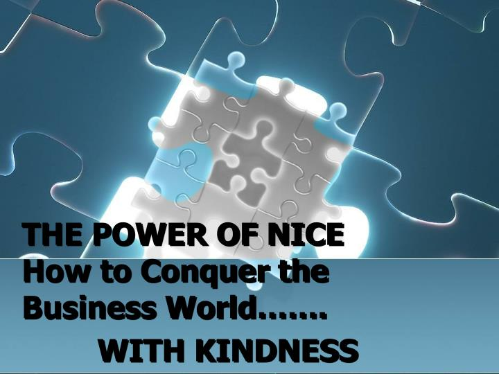 THE POWER OF NICE   How to Conquer the Business World…….