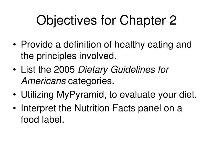 Objectives for chapter 2