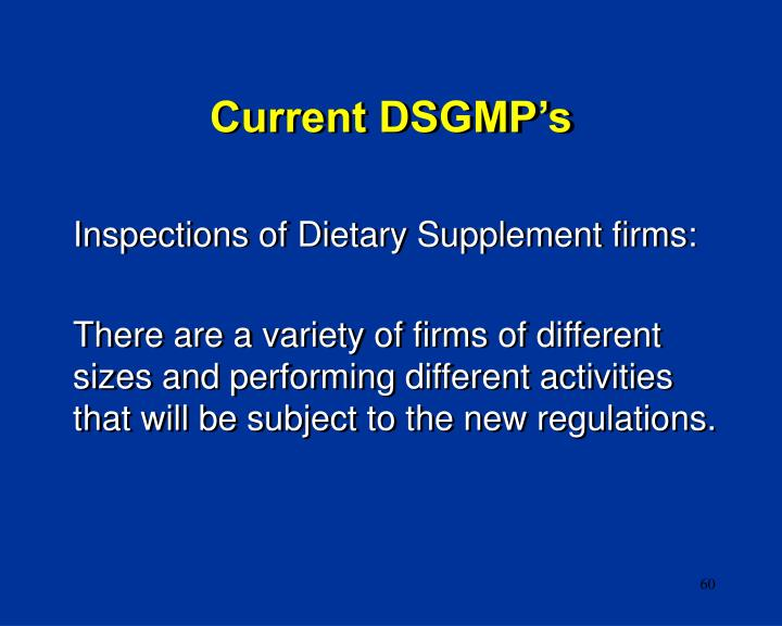 Current DSGMP's