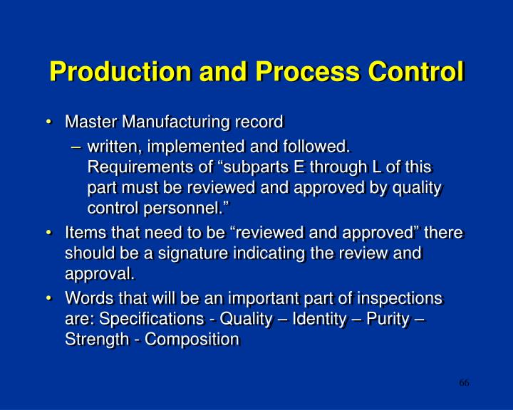 Production and Process Control