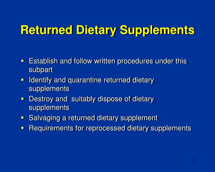 Returned Dietary Supplements
