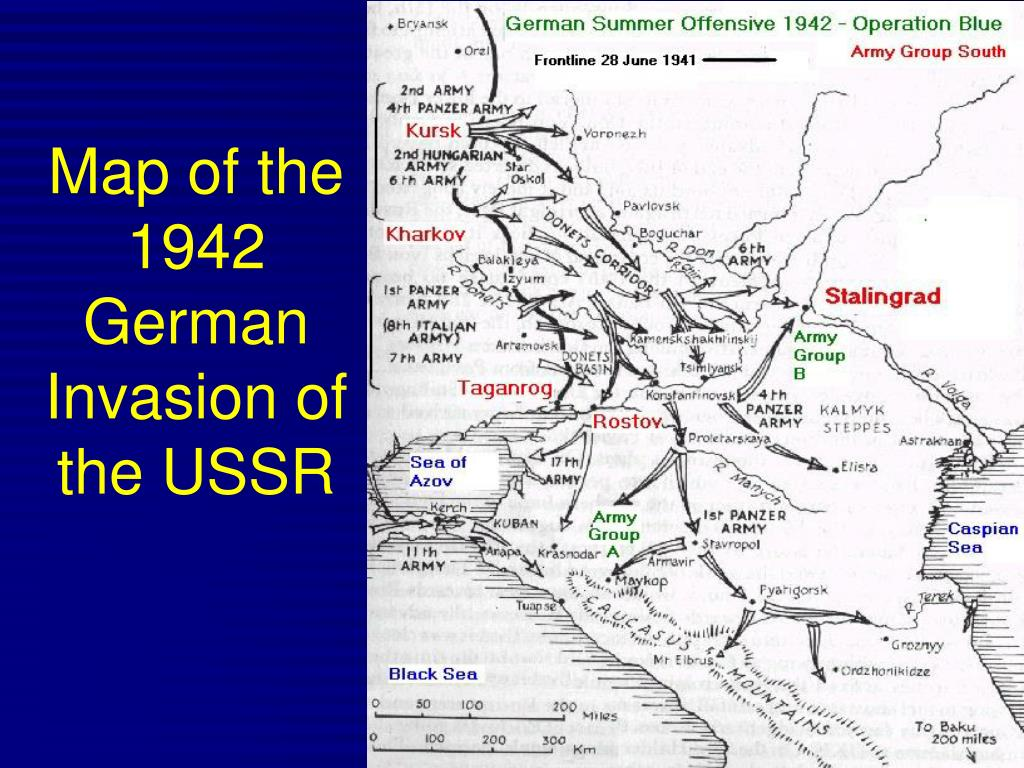 Map of the 1942 German Invasion of the USSR