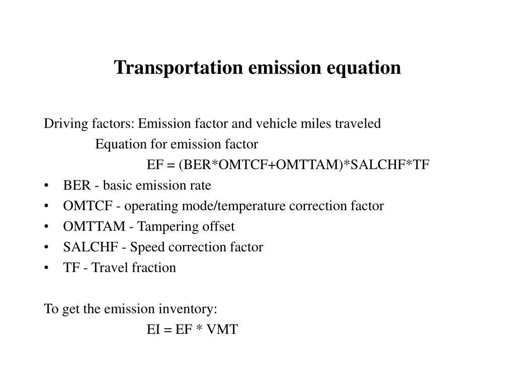 Transportation emission equation