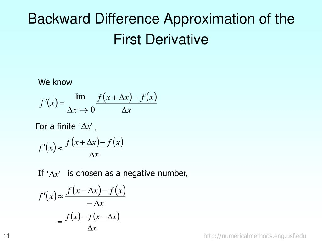 Backward Difference Approximation of the First Derivative