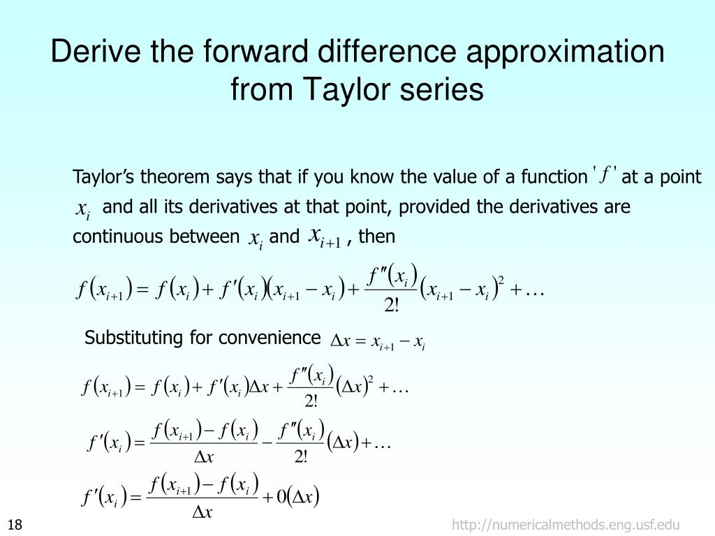 Derive the forward difference approximation from Taylor series