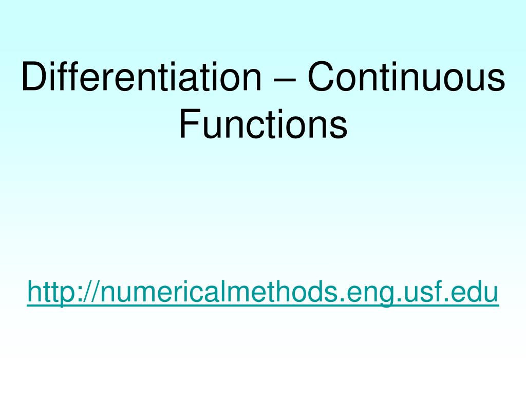 Differentiation – Continuous Functions