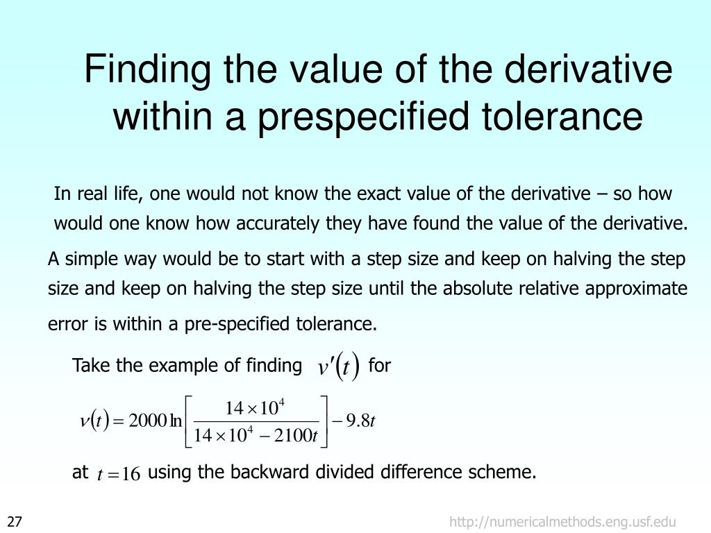 Finding the value of the derivative within a prespecified tolerance