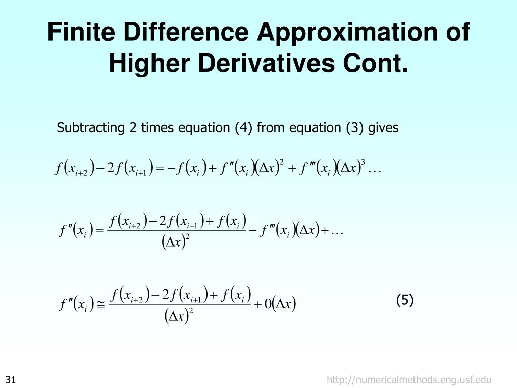 Finite Difference Approximation of Higher Derivatives Cont.