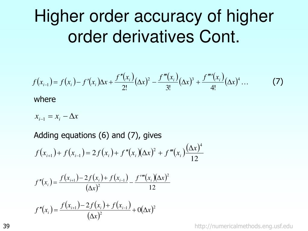 Higher order accuracy of higher order derivatives Cont.