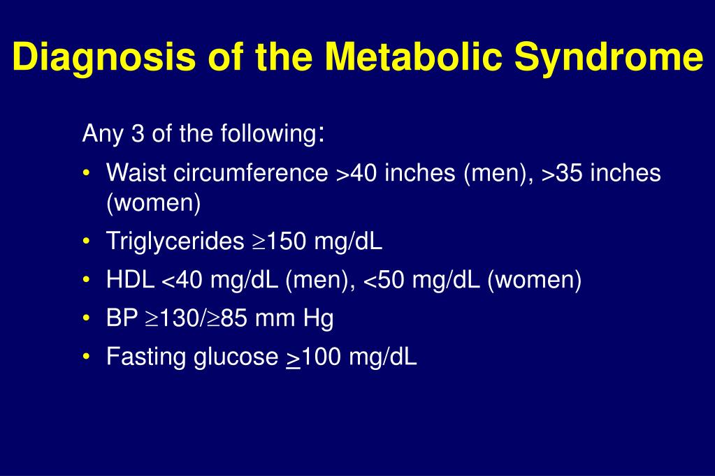 Diagnosis of the Metabolic Syndrome