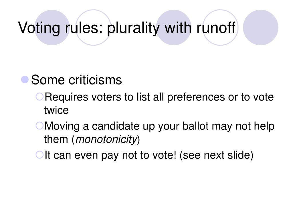 Voting rules: plurality with runoff
