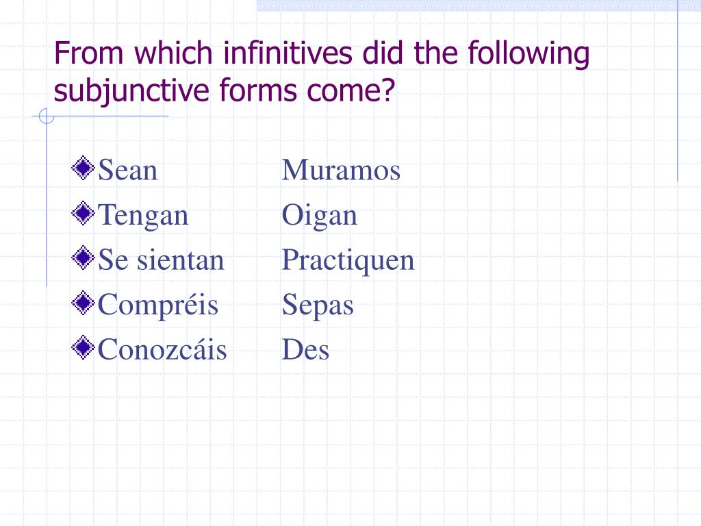 From which infinitives did the following subjunctive forms come?