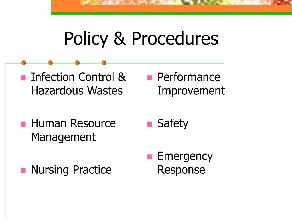 Infection Control & Hazardous Wastes