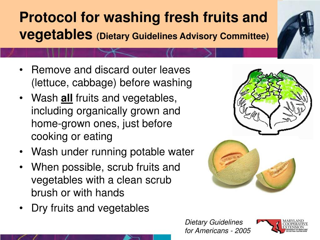Protocol for washing fresh fruits and vegetables