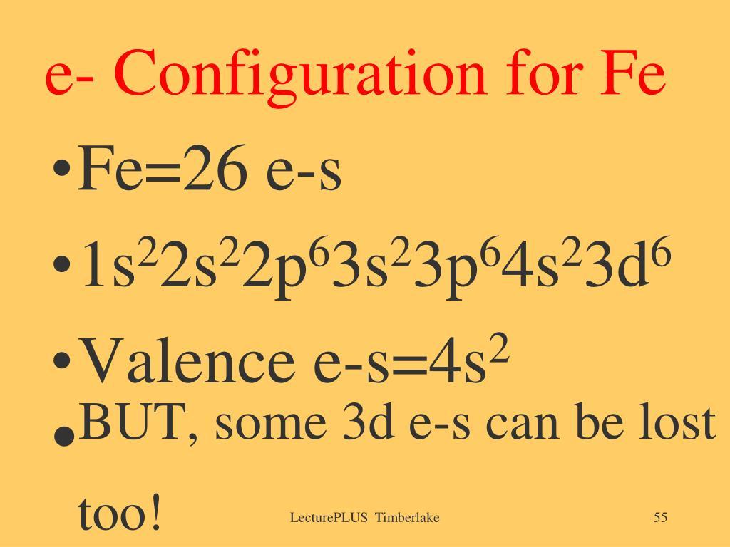 e- Configuration for Fe