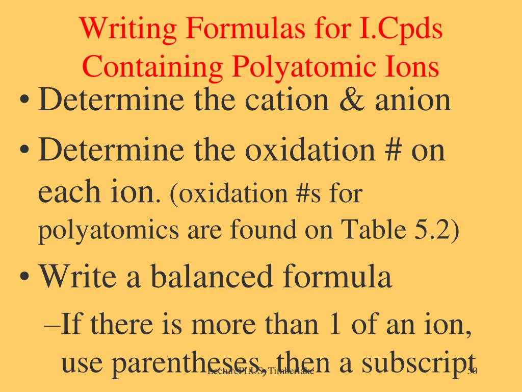Writing Formulas for I.Cpds Containing Polyatomic Ions