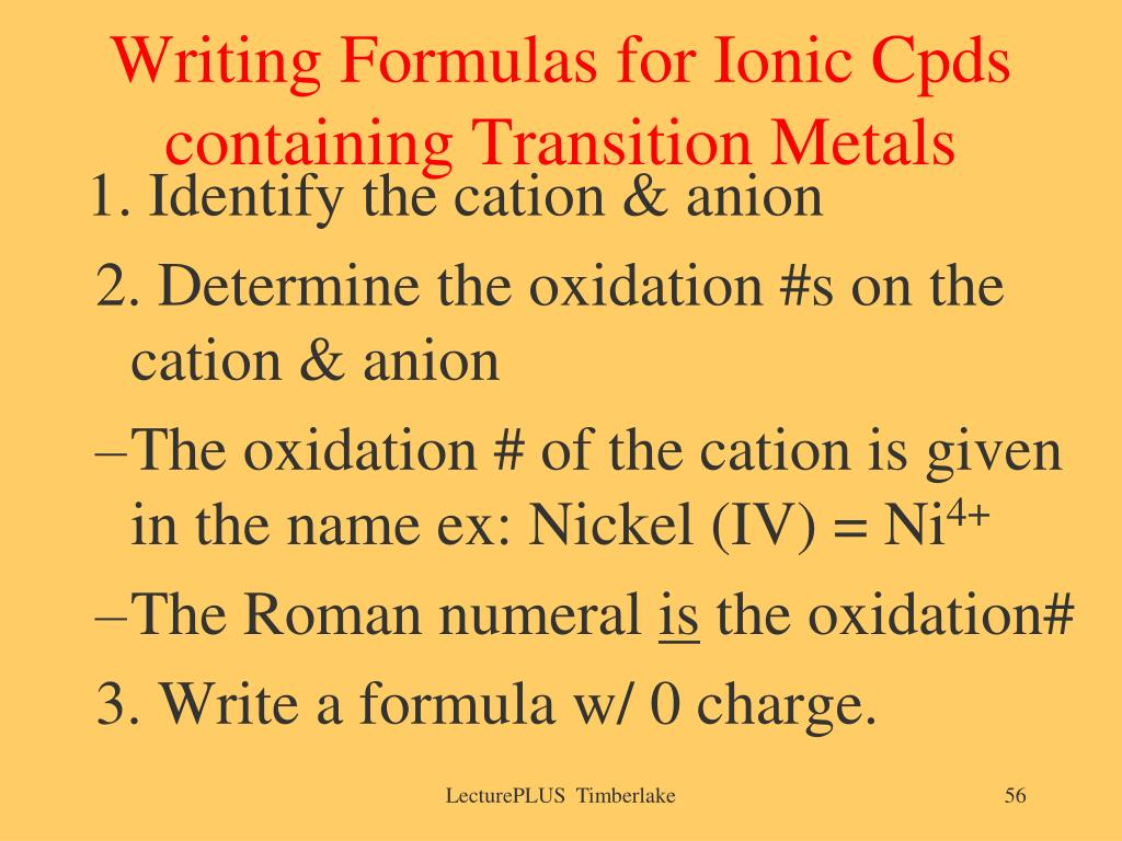 Writing Formulas for Ionic Cpds containing Transition Metals