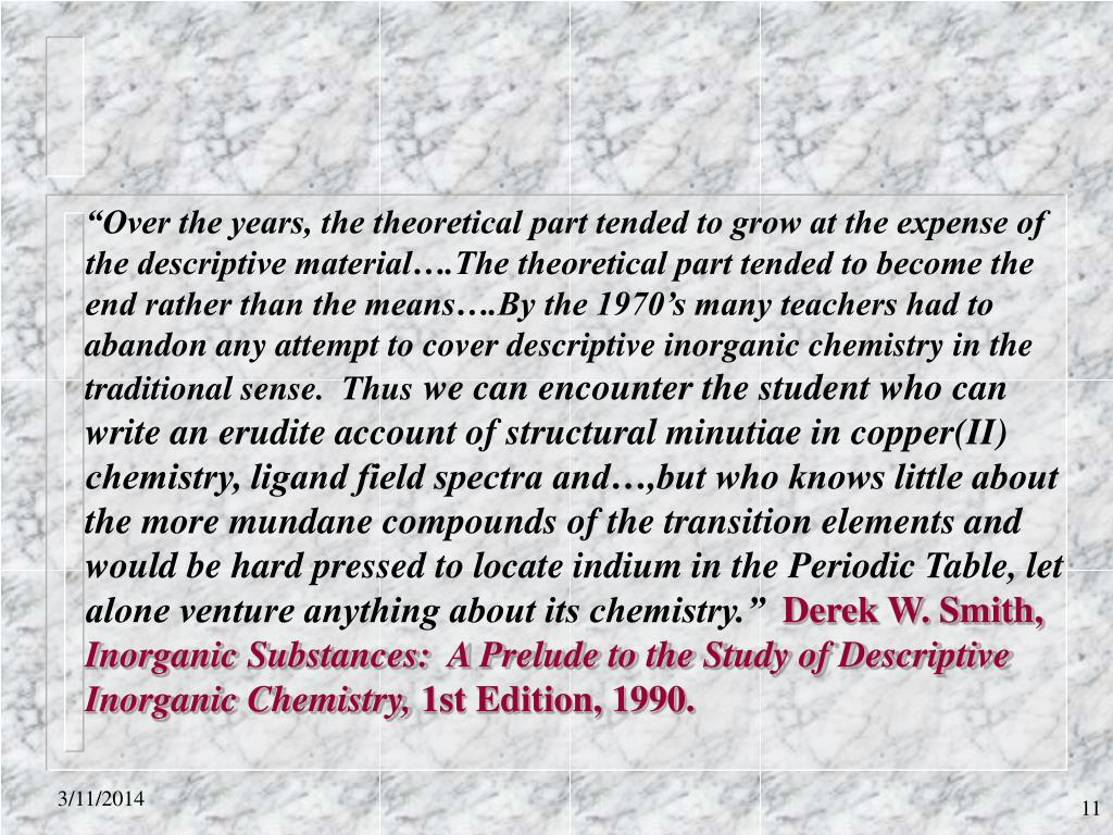 """""""Over the years, the theoretical part tended to grow at the expense of"""