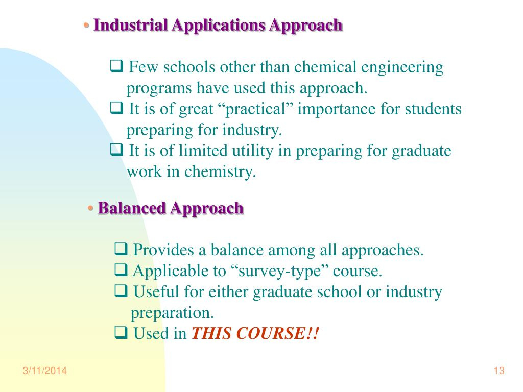 Industrial Applications Approach