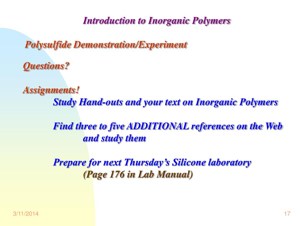 Introduction to Inorganic Polymers
