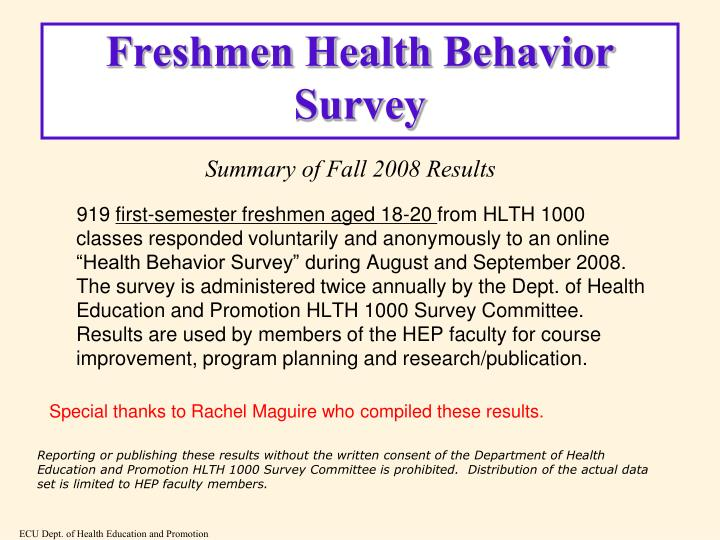 Freshmen health behavior survey