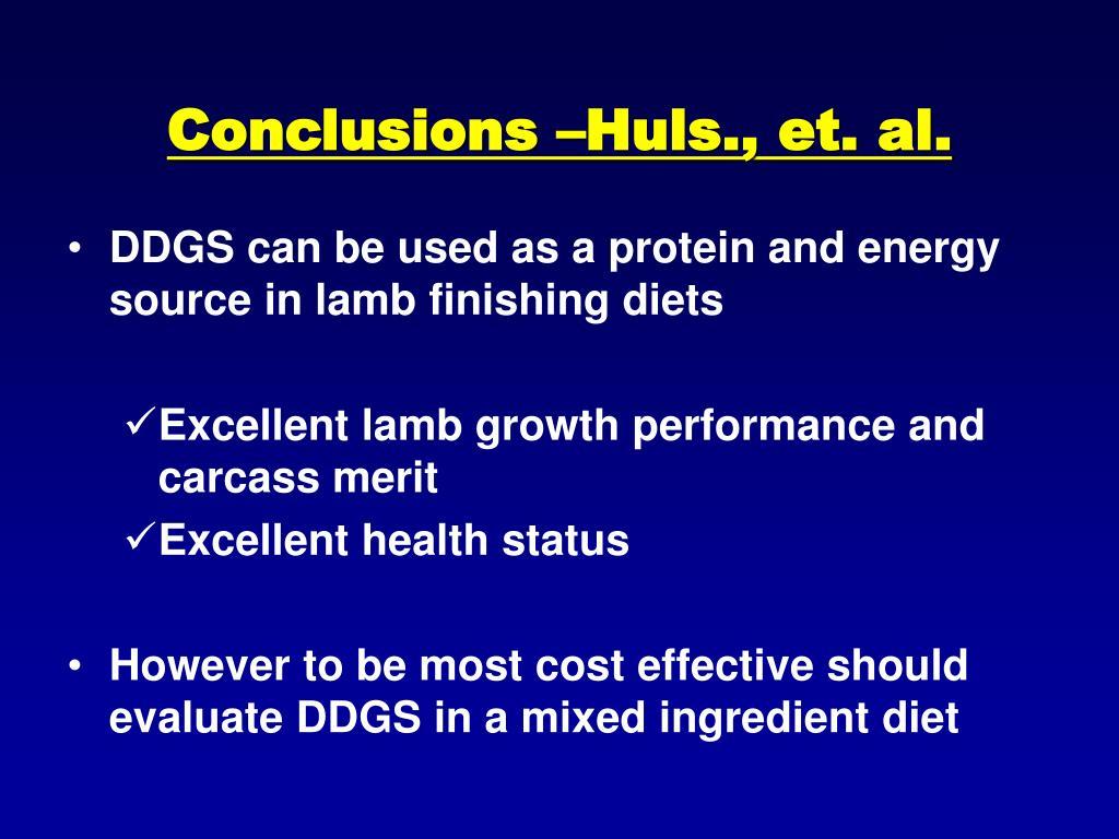Conclusions –Huls., et. al.
