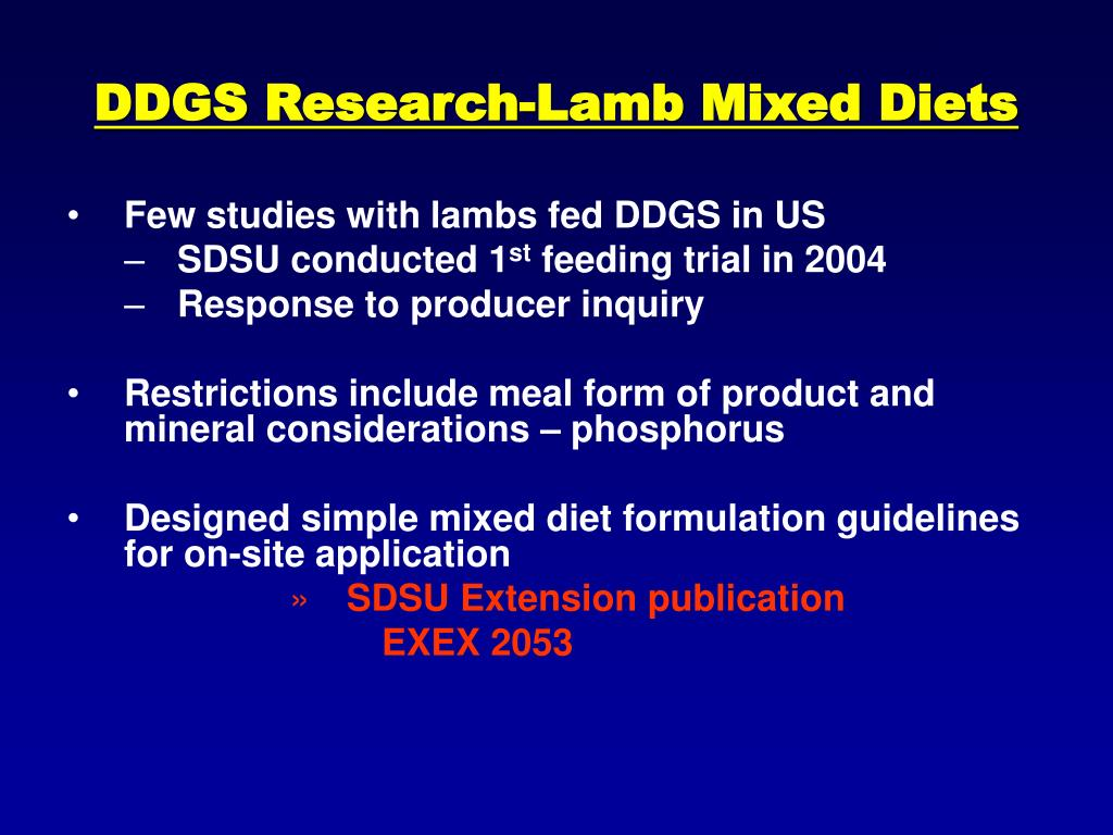 DDGS Research-Lamb Mixed Diets