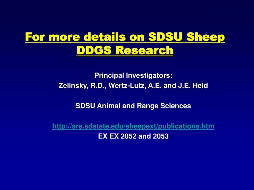 For more details on SDSU Sheep DDGS Research