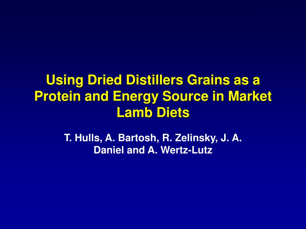 Using Dried Distillers Grains as a Protein and Energy Source in Market Lamb Diets