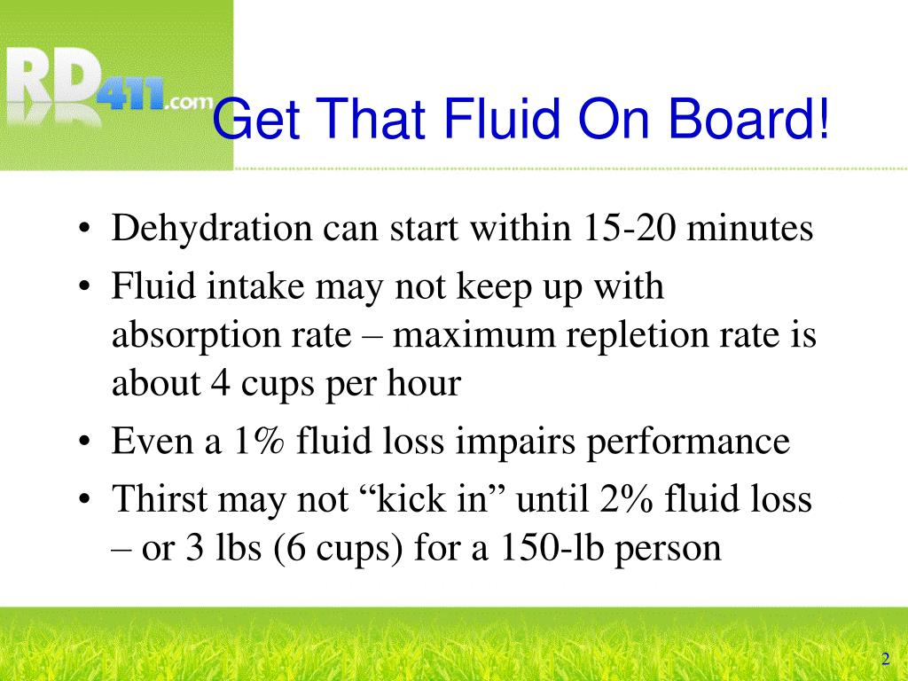 Get That Fluid On Board!