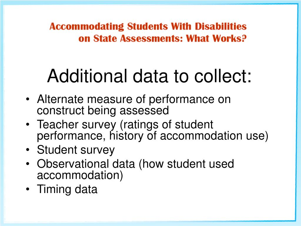 Additional data to collect: