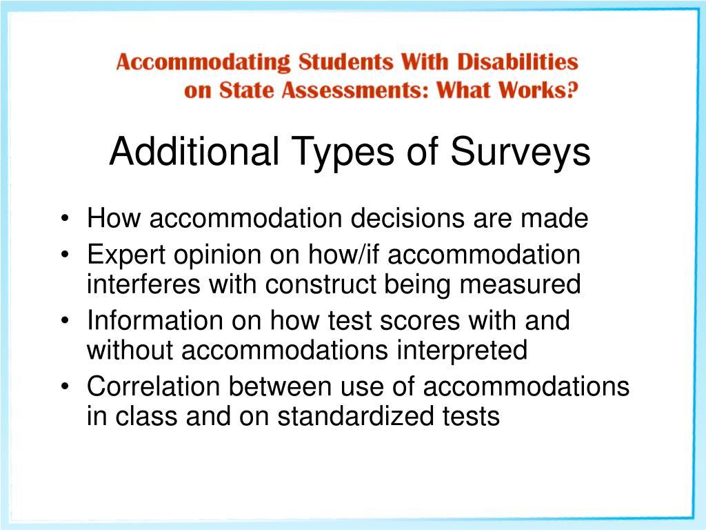 Additional Types of Surveys