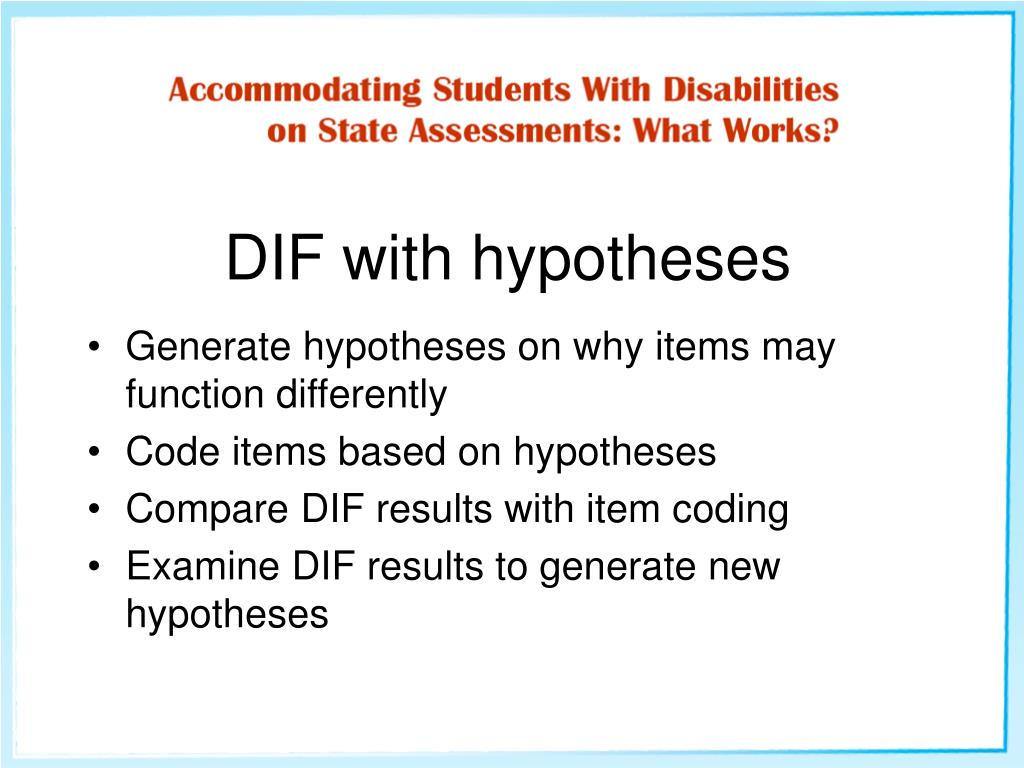 DIF with hypotheses