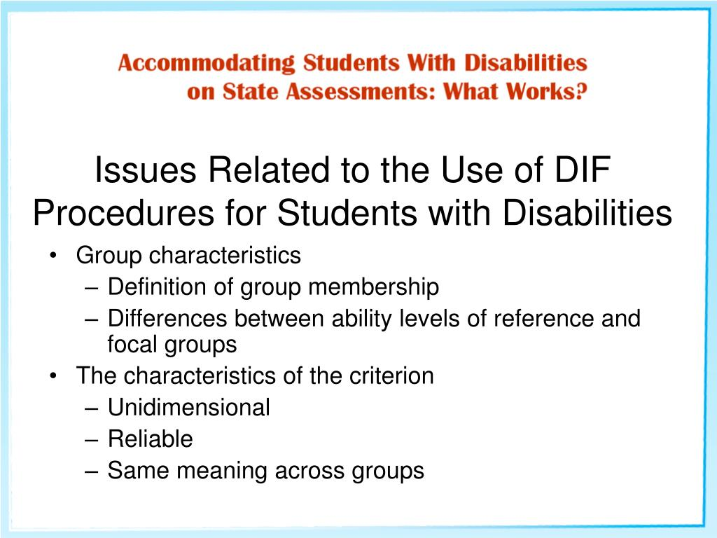 Issues Related to the Use of DIF Procedures for Students with Disabilities