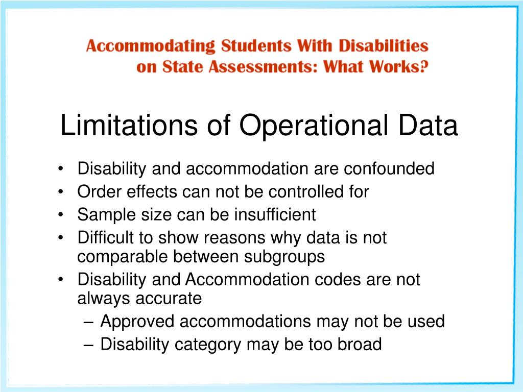 Disability and accommodation are confounded