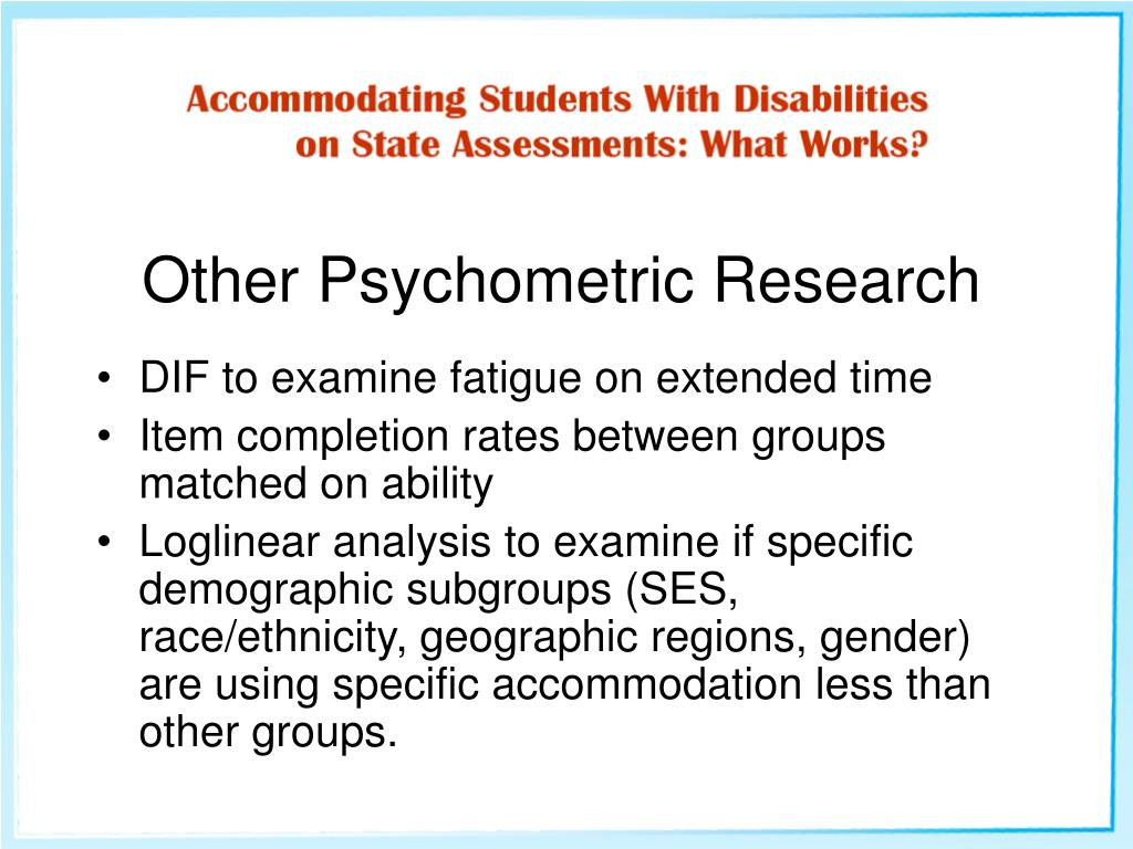 Other Psychometric Research
