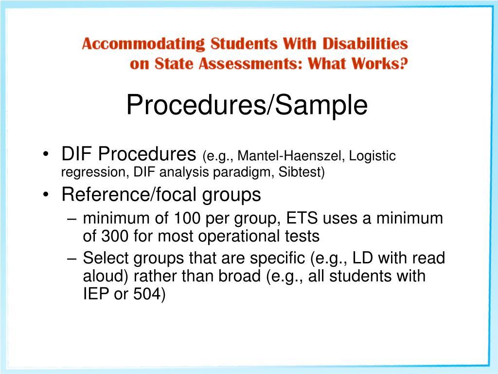 Procedures/Sample