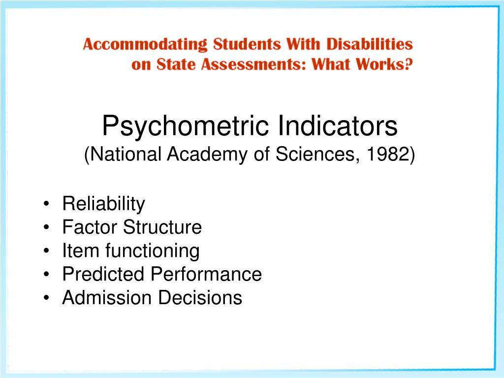 Psychometric Indicators